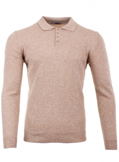 Men's beige cashmere polo in a fine knit