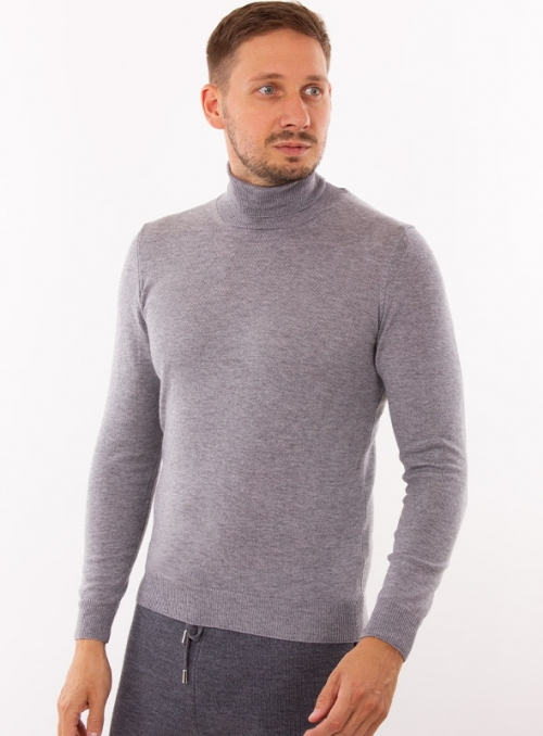 Men's grey cashmere rollneck in a fine knit