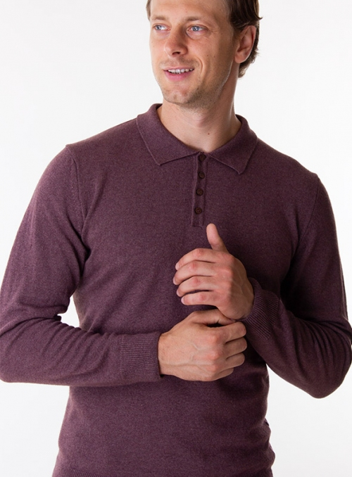 Men's brown cashmere polo in a fine knit