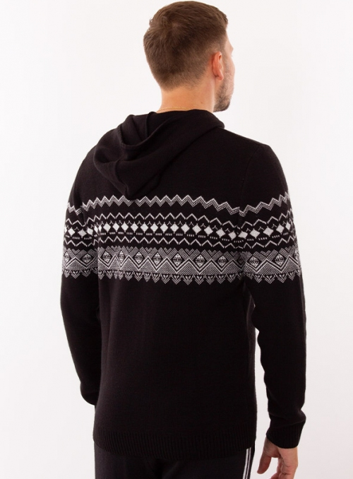 Hoody men's knitted black with a hood