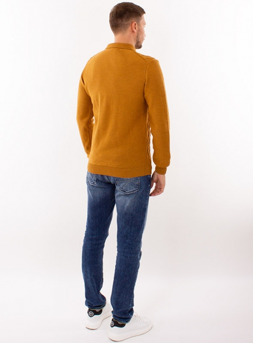 Men's mustard polo in a fine cable knit