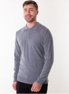 Men's grey cashmere polo in a fine knit