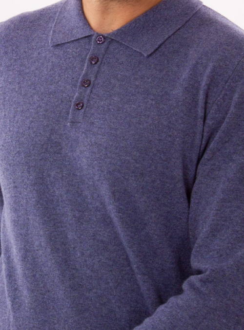 Men's cashmere polo in a fine knit in jeans color
