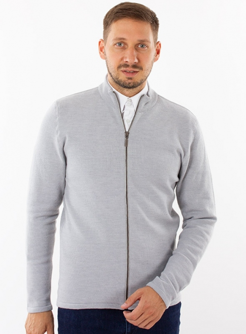 Men's woolen cardigan with a zipper in grey color
