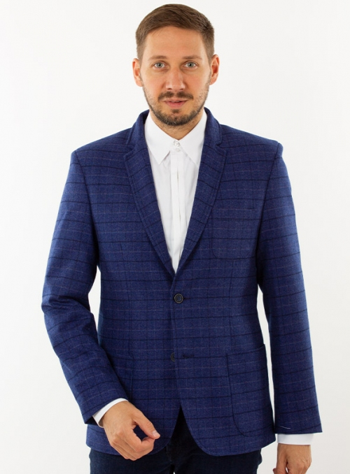 Men's cashmere blue check jacket