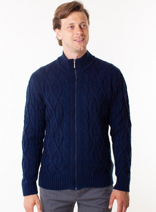Men's knitted blue cardigan with zipper