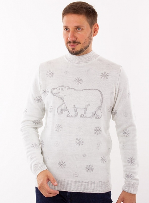 Knitted gray jumper with a bear