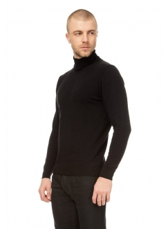Men's black cashmere rollneck in a fine knit