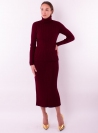 Woman's knitted roll-neck and skirt set