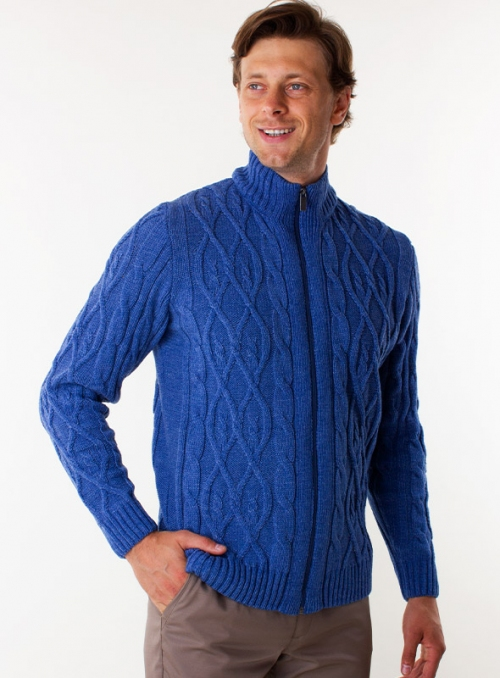 Men's jeans cardigan in volumous knit