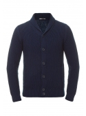 Cardigan blue knitted on buttons